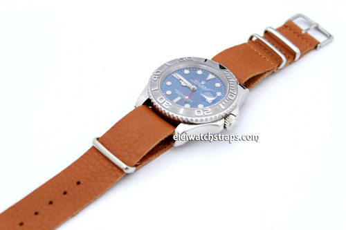 NATO Genuine Tan Brown Leather Watch strap For Rolex Watches