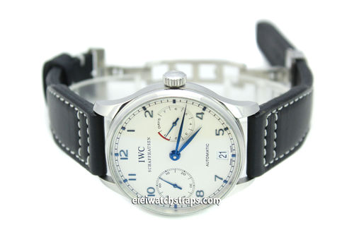 Aviator 22mm Black Calf Leather watch Strap on Deployment Clasp For IWC Portuguese