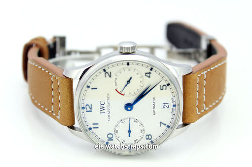 Aviator 22mm Tan Calf Leather watch Strap on Deployment Clasp For IWC Portuguese