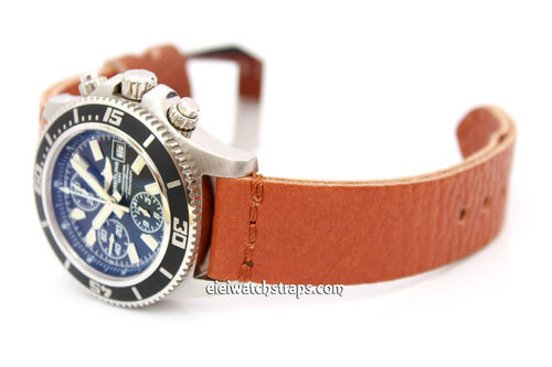 Metta Oiled Tan Leather Watch Strap For BREITLING Watches