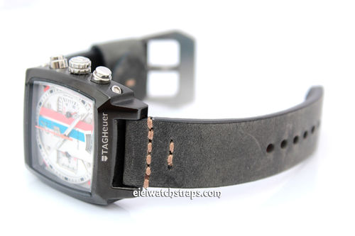 22mm Handmade Aged Black Genuine Leather watch strap For TAG Heuer Monaco