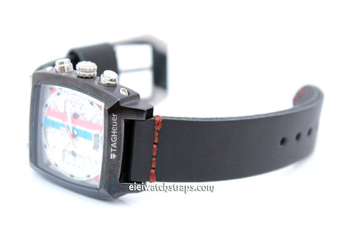 Metta Oiled Black Leather Watch Strap For TAG Heuer Monaco