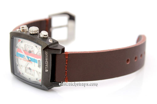 Metta Oiled Brown Leather Watch Strap For TAG Heuer Monaco