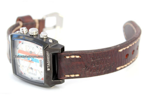 Geneva Hand Made Vintage style Ammo Leather watch strap For TAG Heuer Monaco