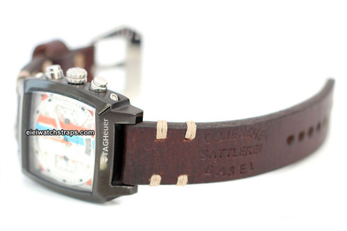 Basel Hand Made Vintage style Ammo Leather watch strap For TAG Heuer Monaco