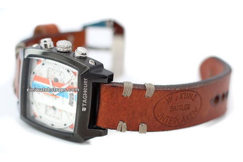 Kuzn Hand Made Vintage style Ammo Leather watch strap For TAG Heuer Monaco
