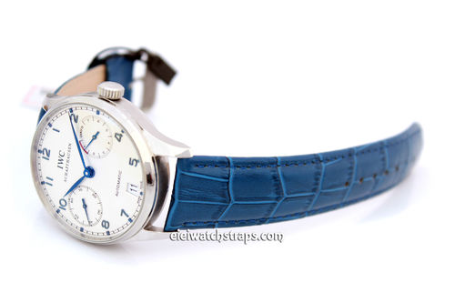 Classic Blue 22mm Crocodile Grain Leather Watch Strap For IWC Portuguese