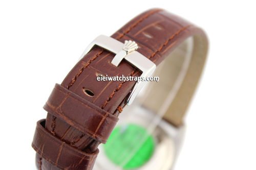 Padded Dark Brown Crocodile Grain Leather Watch Strap with Rolex Tang Buckle