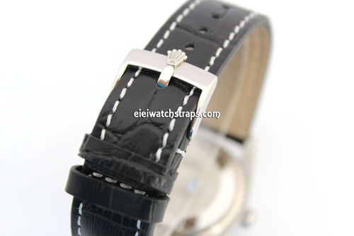 Black Alligator Grain Padded Leather Watch Strap For Rolex Watches