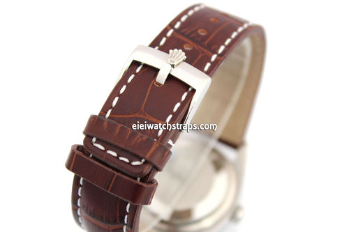 20mm Dark Brown Alligator Grain Padded Leather Watch Strap For Rolex Watches
