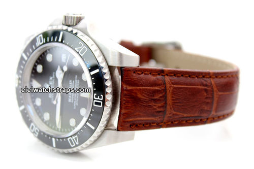 Classic Crocodile Grain Brown Crocodile Watch strap For Rolex Watches