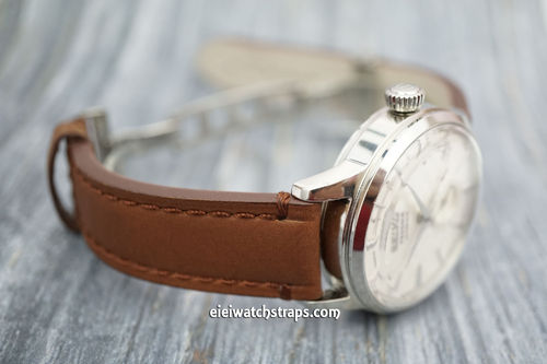LIBERTY Hand Made Leather Watch Strap in Brown on Deployment Clasp for Seiko Divers Watches