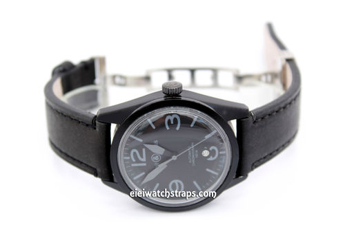 LIBERTY Hand Made Leather Watch Strap in Black on Deployment Clasp for Bell & Ross Watches