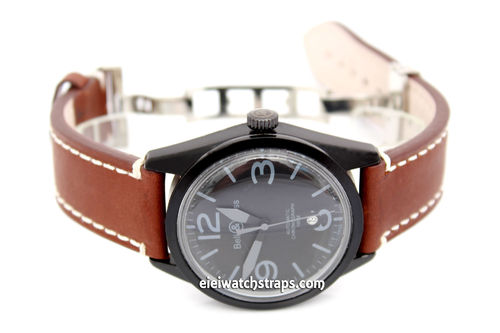 LIBERTY Hand Made Leather Watch Strap in Brown on Deployment Clasp for Bell & Ross Watches