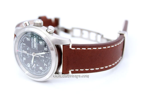 LIBERTY Hand Made Brown Leather Watch Strap in on Deployment Clasp for Hamilton Watches