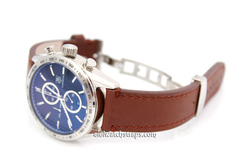 LIBERTY Hand Made Leather Watch Strap in Brown on Deployment Clasp for TAG Heuer Carrera