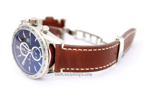 LIBERTY Hand Made Brown Leather Watch Strap in on Deployment Clasp for TAG Heuer Carrera