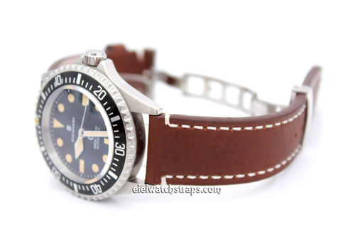 LIBERTY Hand Made Brown Leather Watch Strap on Deployment Clasp for Steinhart Watches