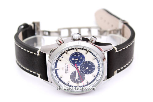 LIBERTY Hand Made Black Leather Watch Strap on Deployment Clasp for Zenith El Primero