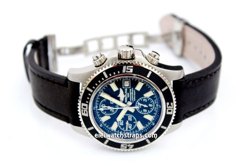 LIBERTY Hand Made Black Leather Watch Strap on Deployment Clasp For Breitling Superocean