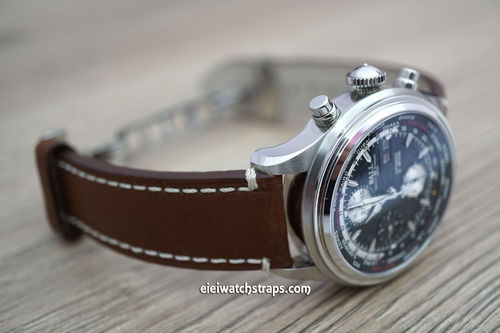 LIBERTY Hand Made Brown Leather Watch Strap on Deployment Clasp For Ball Watches