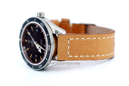 Double Thickness Cut Edge Saddle Brown Leather Watch Strap For Omega Seamaster