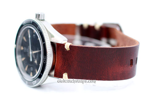 Smooth Brown Leather Watch Strap FOr Omega Seamaster