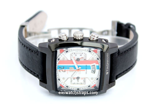 LIBERTY Hand Made Black Leather Watch Strap on Deployment Clasp For TAG Heuer Monaco