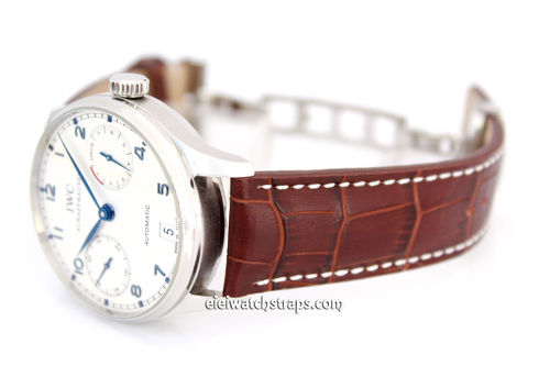 Dark Brown Alligator Grain Padded Leather Watch strap on Deployment Clasp For IWC Portuguese
