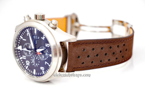 Perforated Rally Brown Leather Watch strap For Deployment Buckles