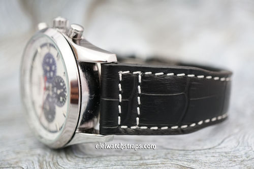 Double Thickness Cut Edge Aviator Hand Made 22mm Black Alligator watch strap For Zenith Watches