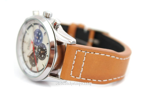 Double Thickness Aviator Hand Made 22mm Tan Leather watch strap For Zenith Watches