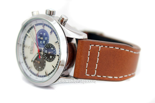 Double Thickness Aviator Hand Made 22mm Brown Leather watch strap For Zenith Watches