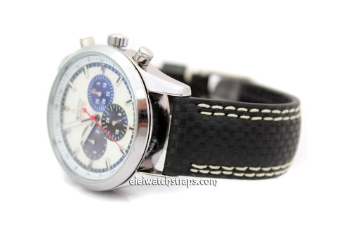 Sport Black Carbon Fibre 22mm Leather double White Stitching Watch Strap