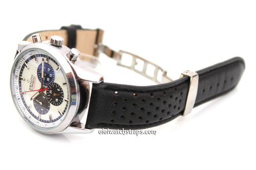 Rally Perforated Leather Watchstrap Deploymnent Clasp Black Stitched