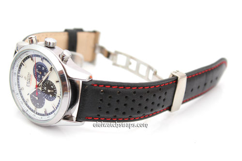 Rally Perforated Leather Watch strap Deploymnent Clasp Red Stitched For Zenith Watches