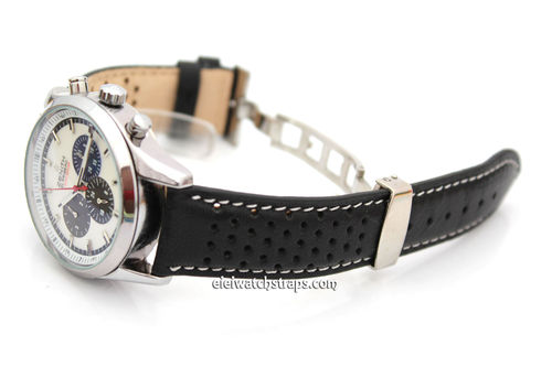 Rally Perforated Leather Watch strap Deploymnent Clasp White Stitched For Zenith watches