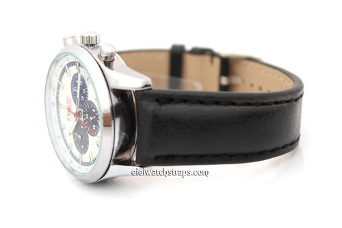 Padded Black Leather Watch Strap For Zenith Watches