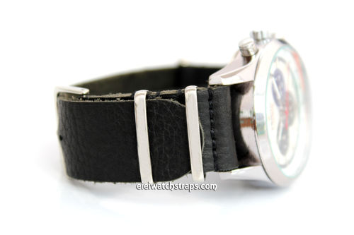 NATO Genuine Black Leather Watch Strap For Zenith Watches