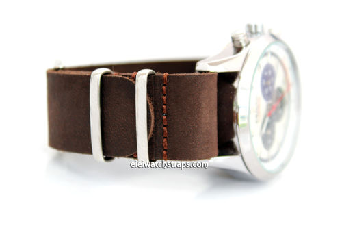 NATO Genuine Dark Brown Leather Watch Strap For Zenith Watches