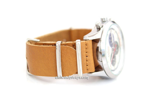 NATO Genuine Tan Leather Watch Strap For Zenith Watches