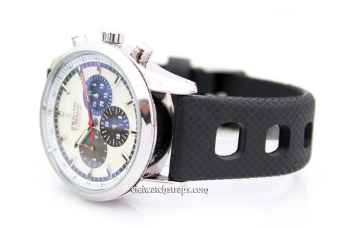 22mm 'Grand Prix' Textured Silicon Rubber Watch strap For Zenith Watches