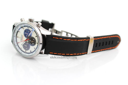Soft Silicon Rubber Watch Strap with Orange Stitching For Zenith Watches