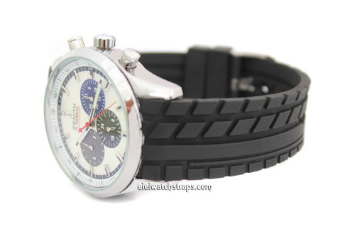 22mm Tyre Tread Curved Lugs Rubber Watch Strap For Zenith Watches