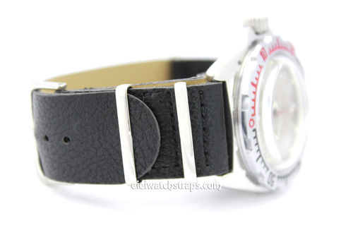NATO Black Leather Watch Strap For Vostok Watches