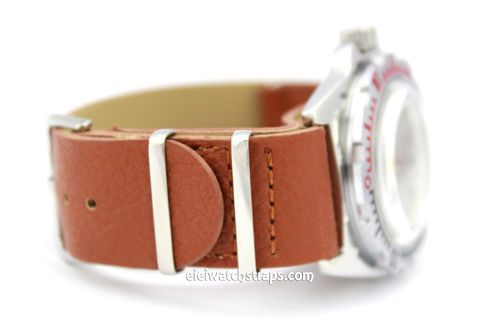 NATO Brown Leather Watch Strap For Vostok Watches