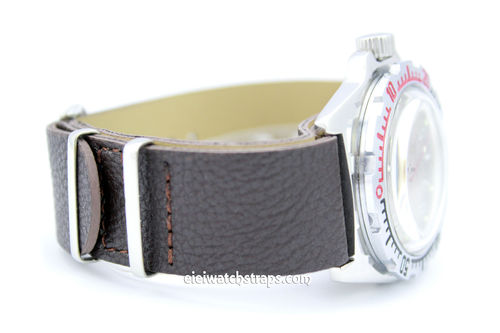 NATO Coffee Brown Leather Watch Strap For Vostok Watches
