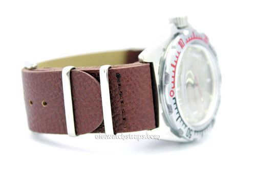 NATO Dark Brown Leather Watch Strap For Vostok Watches