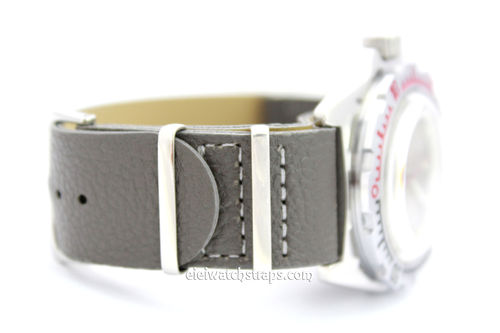 NATO Dark Gray Leather Watch Strap For Vostok Watches