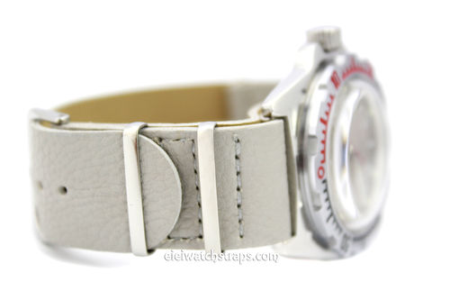 NATO Gray Leather Watch Strap For Vostok Watches